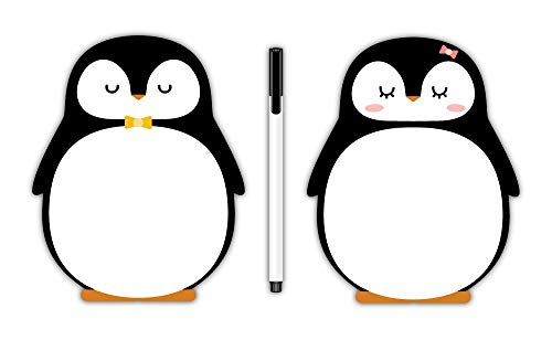Nourish Penguin Magnetic Whiteboard with Marker - 6x5 Inches