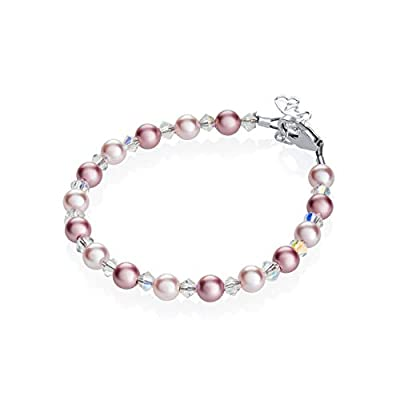 "Crystal Dream Elegant Swarovski Pink and Rose Simulated Pearls White Crystals Baby Girl Gift Bracelet (BPLR_M+), 2-5 YEARS ( 5.5"")"