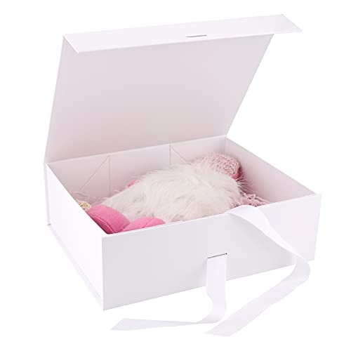 Caja de Regalo con Lazo de Lazo Decorativo Cajas de Cartón,32 x 26 x 10,5cm Caja de Regalo Magnética Cajas de Cartón Caja con Tapa Caja de Regalo con Magnética Caja de Regalo de Lujo Premium (White)