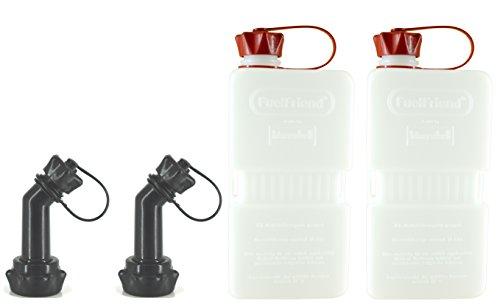 FuelFriend®-Plus Clear 1,5 Liter - Klein-Benzinkanister Mini-Reservekanister + verschließbares Auslaufrohr - im Doppelpack