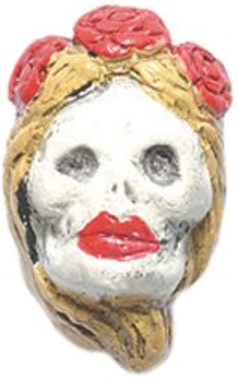 Peruvian Shipwreck Hand Crafted Ceramic Day of The Dead Woman Light Hair Beads, 10 by 17mm, 4 Per Pack