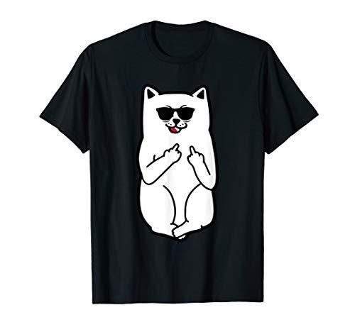 Cat Middle Finger Kitty Kawaii Cartoon Funny Meme Lover Gift T-Shirt