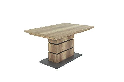 HOMEXPERTS Auszugs-Tisch BONNIE / Esstisch ausziehbar in Eiche-Optik hell-braun / Esszimmer-Tisch mit Applikationen und Bodenplatte anthrazit / Küchen-Tisch mit Standfuß / 140-190 x 90, H 75 cm