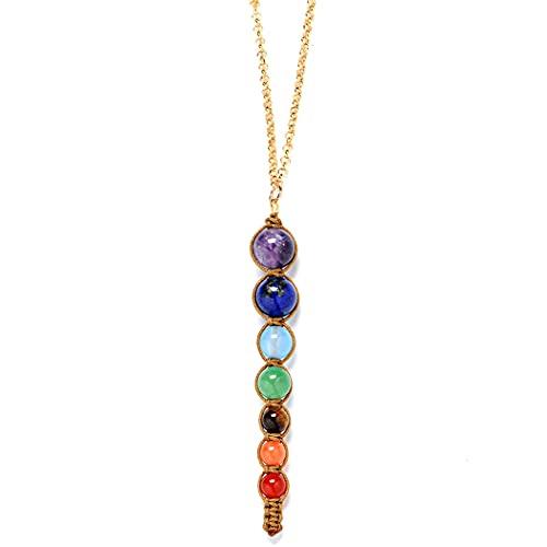 Lnrueg Collar Chakra Piedra Unisex Decorativo Vintage Energy Collar Curación Collar Cadena Joyas Hombre Mujer
