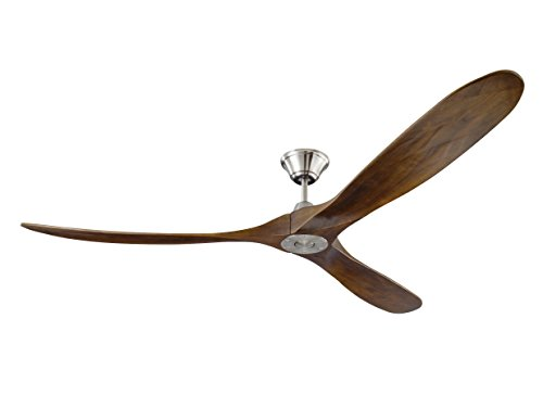 Monte Carlo 3MAVR70BS Maverick Max Energy Star 70'' Outdoor Ceiling Fan with Remote Control, 3 Balsa Wood Blades, Brushed Steel