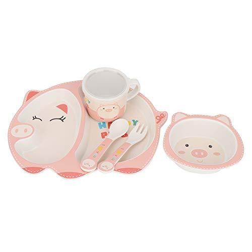 Juego de alimentación reutilizable para hora de comer, vajilla para niños, para bebés Todders(Happy pig)