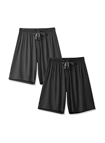 DAVID ARCHY - Pantalones cortos de pijama para hombre (2 unidades), L, Gris oscuro/Azul marino