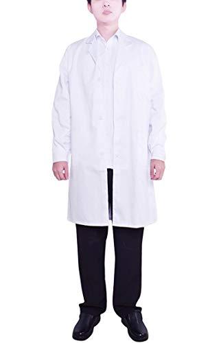 Nanxson Blouse Blanche Médicale Veste de Travail Labo en Chimie Laboratoire Manches Longues pour Infirmière/Docteur/Médecin CF9002 (L, Blanc)