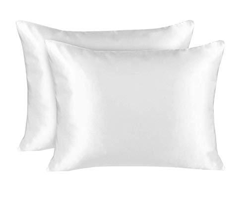 Ruike Funda de almohada de seda natural para el cabello y la piel, con cremallera invisible, funda de almohada de satén de lujo para el cabello, tamaño 51 x 76 cm, color blanco (2 piezas)