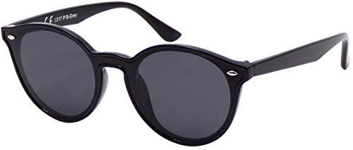 La Optica B.L.M. UV400 CAT 3 CE Damen Frauen Sonnenbrille Rund Round Monoglas - Einzelpack Glänzend Schwarz (Gläser: Polarisiert Grau)