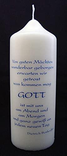 """""""Bonhoeffer""""-kaars zeefdruk blauw 165/60"""