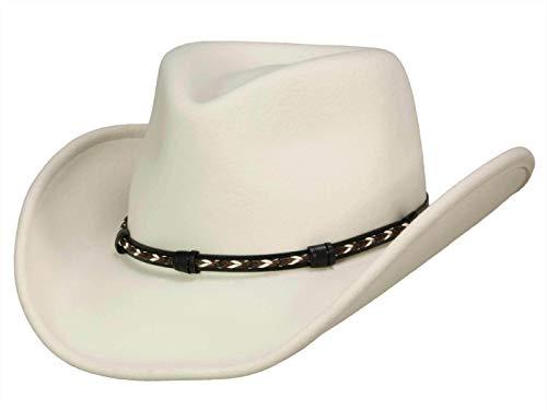 Stetson Amasa - Cappello da cowboy in feltro di lana, da donna/uomo, impermeabile, prodotto negli Stati Uniti Bianco (10) Large