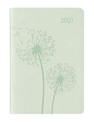 Ladytimer Mini Deluxe Pastel Mint 2021 - Taschen-Kalender 8x11,5 cm - Tucson Einband - Motivprägung Pusteblume - Weekly - 144 Seiten - Alpha Edition