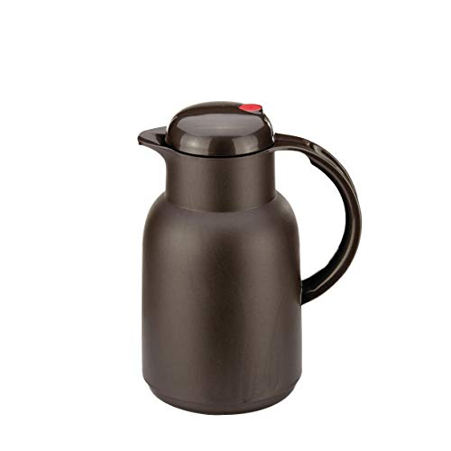 ROTPUNKT Isolierkanne 470 Astrid 1,0 l | Zweifunktions-Drehverschluss | BPA-frei - gesundes Trinken | Made in Germany | Warm + Kalthaltung | Glaseinsatz | Frozen Coffee