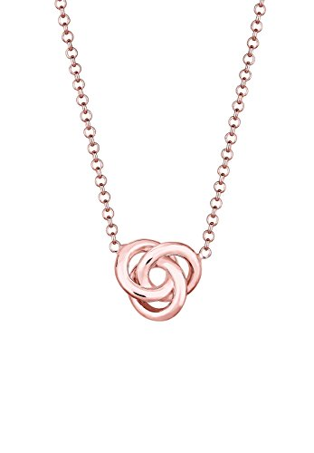 Elli Damen-Halskette mit Anhänger Knoten Knot Verbundenheit Geo rosé vergoldet silber 925 0110131116_45 - 45cm Länge