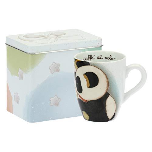 THUN  - Mug Panda Gemini con Scatola in Latta per tè, caffè, tisana - Porcellana - 300 ml - Ø 8,5 cm