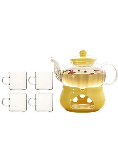QIXIAOCYB - Set da tè in vetro borosilicato, con teiera, teiera, teiera, teiera, base in ceramica, scomparto per tè (colore: quattro cuos)