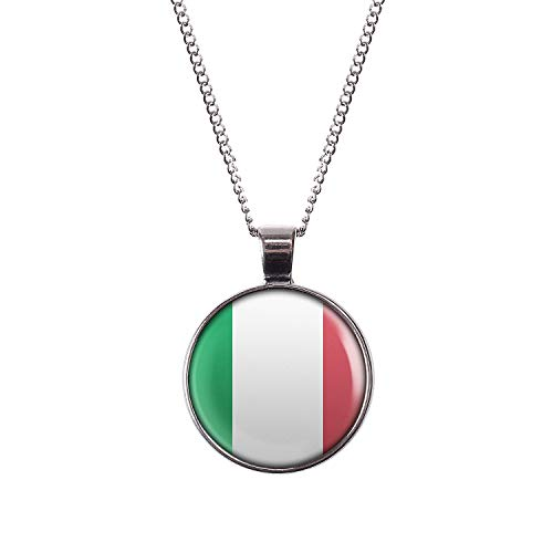 Mylery Hals-Kette mit Motiv Italien Italia Italy Rom Rome Flagge Silber 28mm