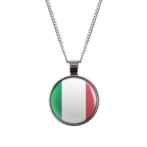 Mylery Hals-Kette mit Motiv Italien Italia Italy Rom Rome Flagge Silber 28mm
