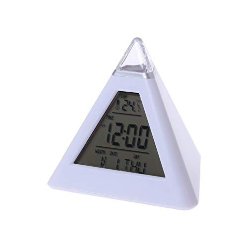 zanasta Digital Wecker Pyramiden Uhr mit 7 LED Farbwechsel   Datum und Temperatur Anzeige, Weiß