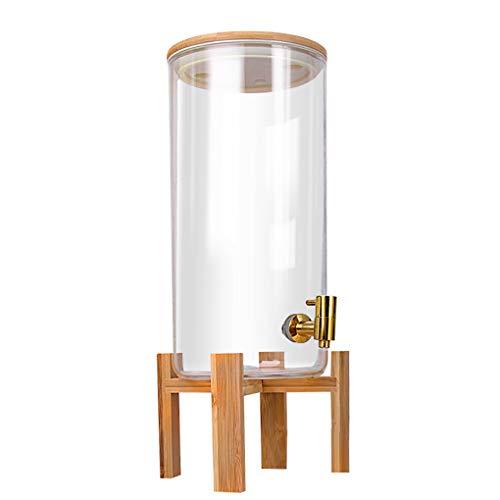 YAOUFBZ Bebida de Jugo Transparente Barril Sellado Tarro Vidrio Tanque de Agua Cubo,dispensador de Bebidas Vidrio Superior con Grifo de Acero Inoxidable Bebidas frías Cócteles