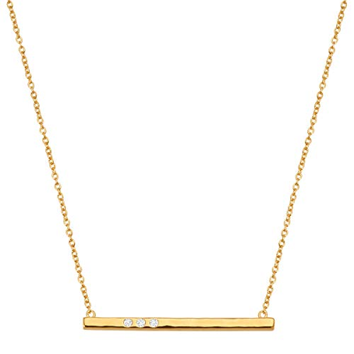 Silpada 'Dotted Line' Necklace with Swarovski Crystals in 14K Gold-Plated Sterling Silver, 18