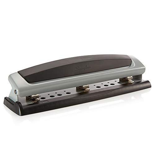 Swingline Desktop Hole Punch, 2- 3 Hole Puncher, Precision Pro, Adjustable, 10 Sheet Punch Capacity, Black/Silver (74037)