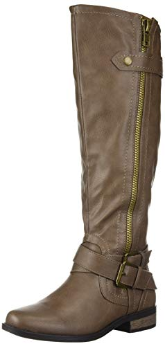 Rampage Women's Hansel Zipper and Buckle Knee-High Riding Boot,Taupe,7.5 B(M) US Regular Calf