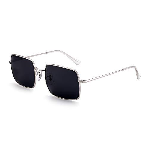 GLINDAR Gafas de sol cuadradas polarizadas para hombres y mujeres con montura metálica UV400 (plateado/gris)