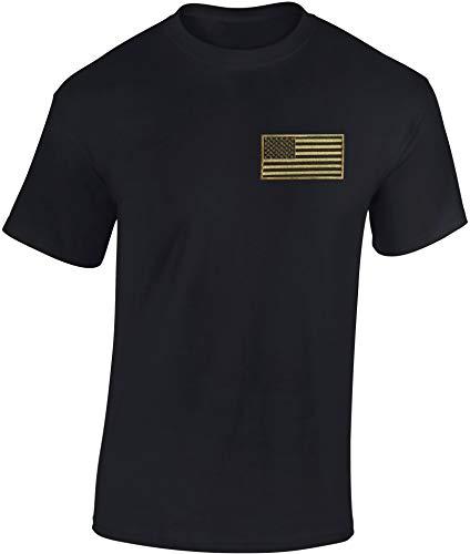 T-Shirt: USA Flagge Patch Stars and Stripes - US-Army Shirt Herren Damen - Mann Männer Frau-en - Biker - Rock-er - Amerika America - United States - Camouflage Camo Tarn - Geschenk (Schwarz M)