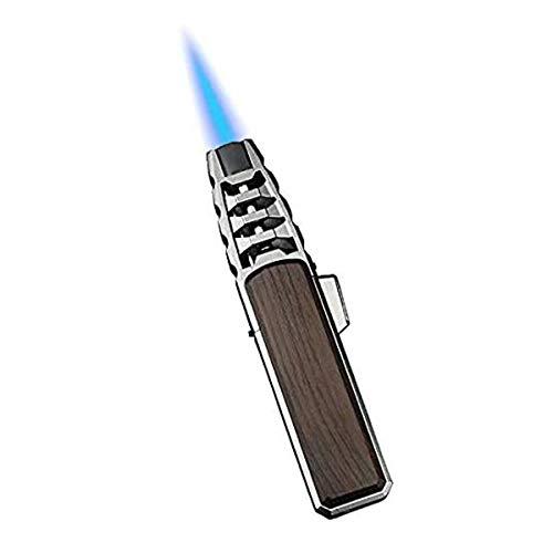 Turbine Torcher - Fackelfeuerzeug Jet Flame Nachfüllbares Winddichtes Feuerzeug mit Locher für Candle Camping BBQ Küche - Gas Nicht enthalten, Torch Lighter Jet Flame Refillable Lighter (Silver)