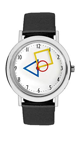 Aristo Unisex Bauhaus Quarz-Uhr RGB | Bauhaus Feat. Mondrian | Lederarmbanduhr | 100 Jahre Bauhaus (schwarz)