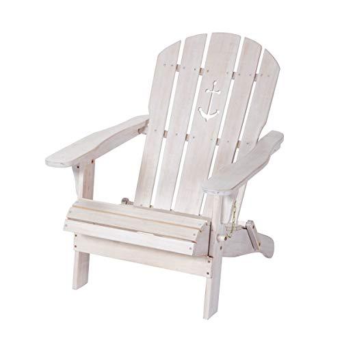 Pureday Outdoor-Stuhl Anker - Adirondack Chair, klappbarer Gartensessel - Maritimer Look - Holz - Weiß
