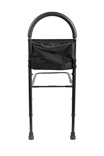 Medline Bed Assist bar With Storage Pocket, Height Adjustable Bed Rails for Elderly Adults, Assistance for Getting In & Out of Bed At Home, Black, 1 Count