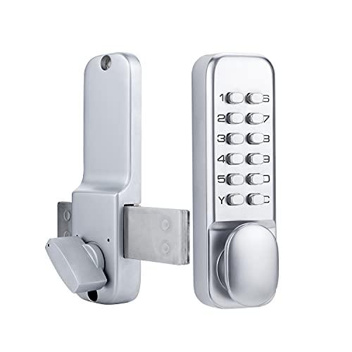 Stainless Steel 100% Mechanical Door Locks with Keypad Door Knob, Waterproof Keyless Entry Door Keypads Deadbolt Lock with Handle, Digital Outdoor Gate Combination Door Locks Set with Keypads (Silver)