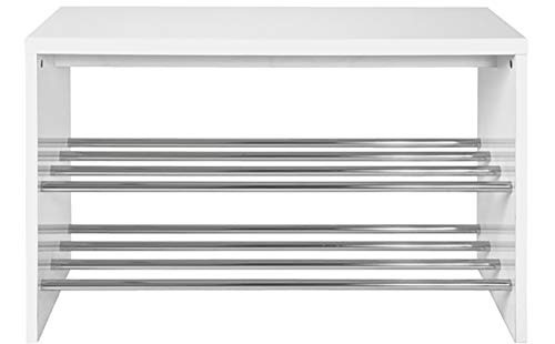 Haku Möbel Schuhregal - MDF Dekor Hochglanz-weiß Ablage Chrom B 81 cm