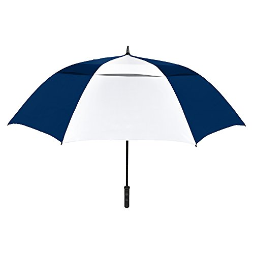"STROMBERGBRAND UMBRELLAS The Vented Tornado 64"" Windproof Waterproof PGA Professional Quality Ultimate Portable Golfers Auto Open Golf Umbrella for Men and Women, Navy Blue/White, One Size"
