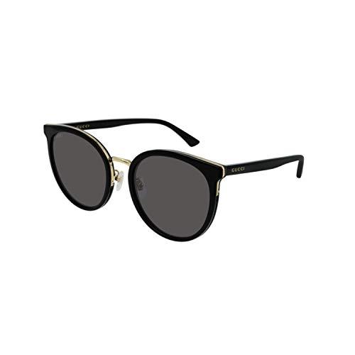 Gucci Occhiali da Sole Donna Korean GG 0405SK 001 Nero e Oro a Gatto Cat Eye Lenti Grigie Sfumate fumè cal 56