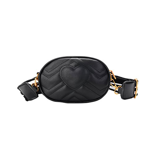 OULII Frauen Mini Hüfttaschen abnehmbare Strap Waist Pouch Bag Handy Geldbörse (schwarz)