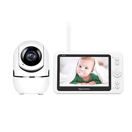 Junqin 1080P 2 Millones de píxeles Monitor de vídeo de Alta definición de 5 Pulgadas para bebés con cámara y Audio, Monitor para bebés, Dispositivo para el Cuidado del bebé, intercomunicador