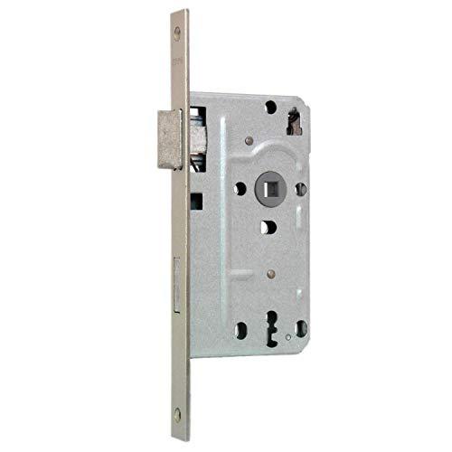 KFV Buntbart-Einsteckschloss 104 - Stulp eckig - 20mm Stulpbreite - silber - inkl. 1 Schlüssel - 72mm Entfernung - 8mm Vierkant (DIN rechts)