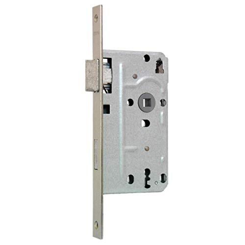 KFV Buntbart-Einsteckschloss 104 - Stulp eckig - 20mm Stulpbreite - silber - inkl. 1 Schlüssel - 72mm Entfernung - 8mm Vierkant (DIN links)
