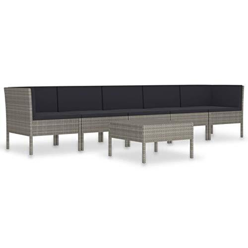 Tidyard Conjuntos Sofa Exterior Set de Muebles de jardín 6 pzas y Cojines ratán sintético Gris