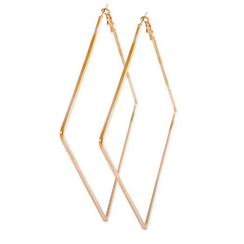 Geralin Gioielli Damen Ohrring groß Gold Creolen Viereck Fashion Ohrhänger Vintage