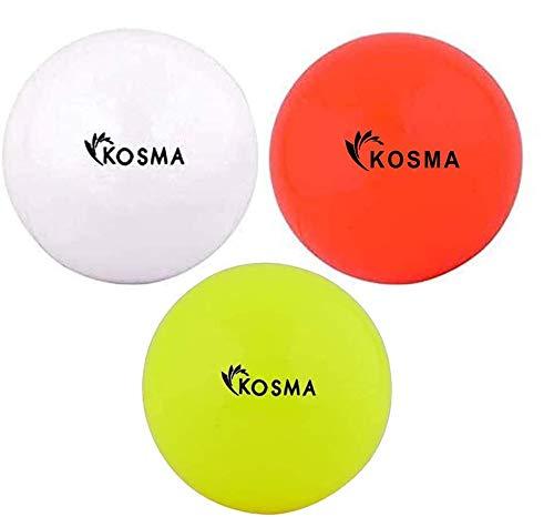 Kosma Set von 3 glatten Hockeybällen | Outdoor Sports PVC Übungsbälle – Gelb, Orange, Weiß