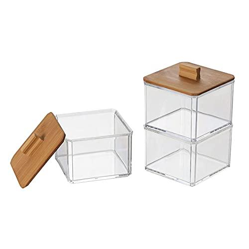 KIRSTHM Lot de 2 boîtes carrées en acrylique pour cotons-tiges, boules, éponges de maquillage, sels de bain