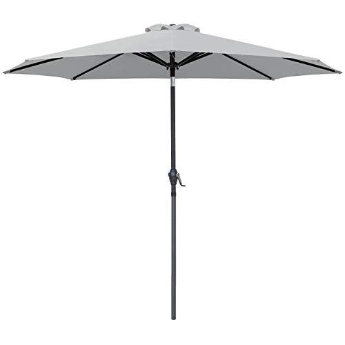 Greesum 9FT Patio Umbrella Outdoor Market Table Umbrella with Push Button Tilt, Crank and 8 Sturdy Ribs for Garden, Lawn,Backyard & Pool,Gray