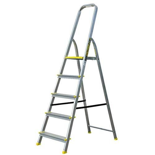 Haushaltsleiter mit 5 Stufen – Profi-Leiter aus Aluminium, 3m Arbeitshöhe, bis zu 120 kg Belastung, Stehleiter für Haus und Wohnung, FORTENA
