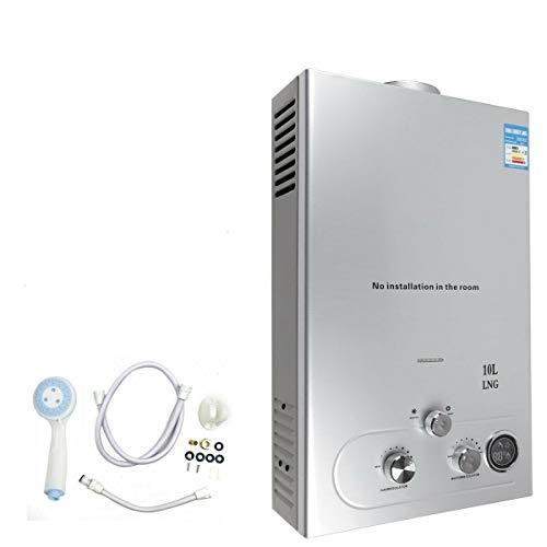 Erdgas Gas Warmwasserbereiter mit Duschset Tragbar Wandmontage Warmwasserspeicher Durchlauferhitzer Silber 10L