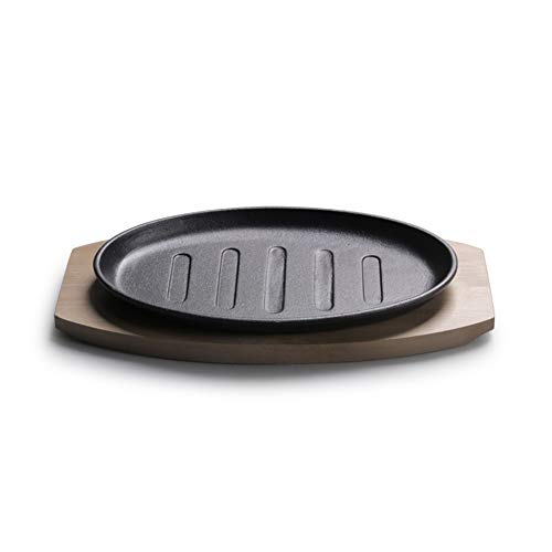 QAQWER gietijzeren pan, gietijzer, ovaal, bakplaat, restaurant, maaltijdplaat, houten plaat, ijzeren plaat